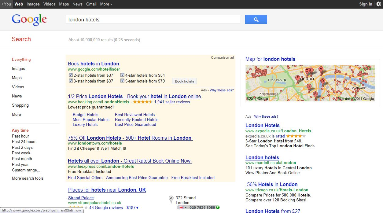 Google hotel finder showing in search results by michael for Hotel search